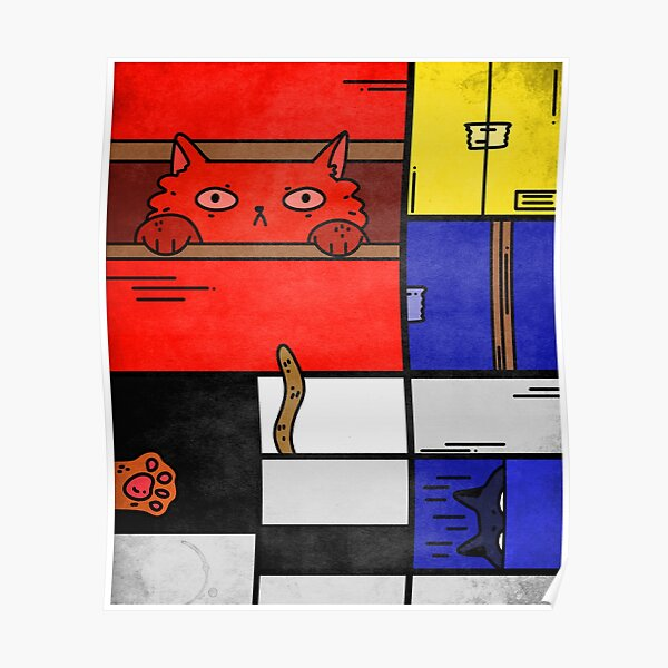 Composition Of Cats Mondrian Poster