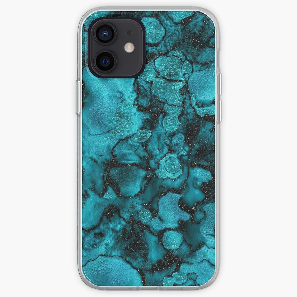 Indigo Malachite Marble and Black Glitter iPhone Case & Cover