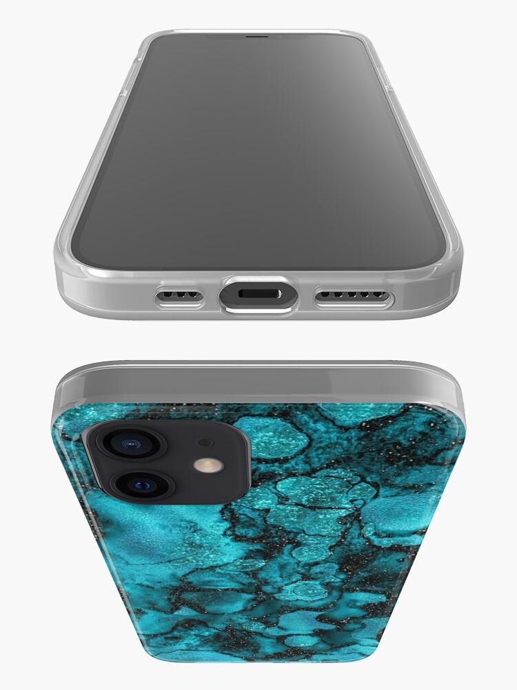 Alternate view of Indigo Malachite Marble and Black Glitter iPhone Case & Cover