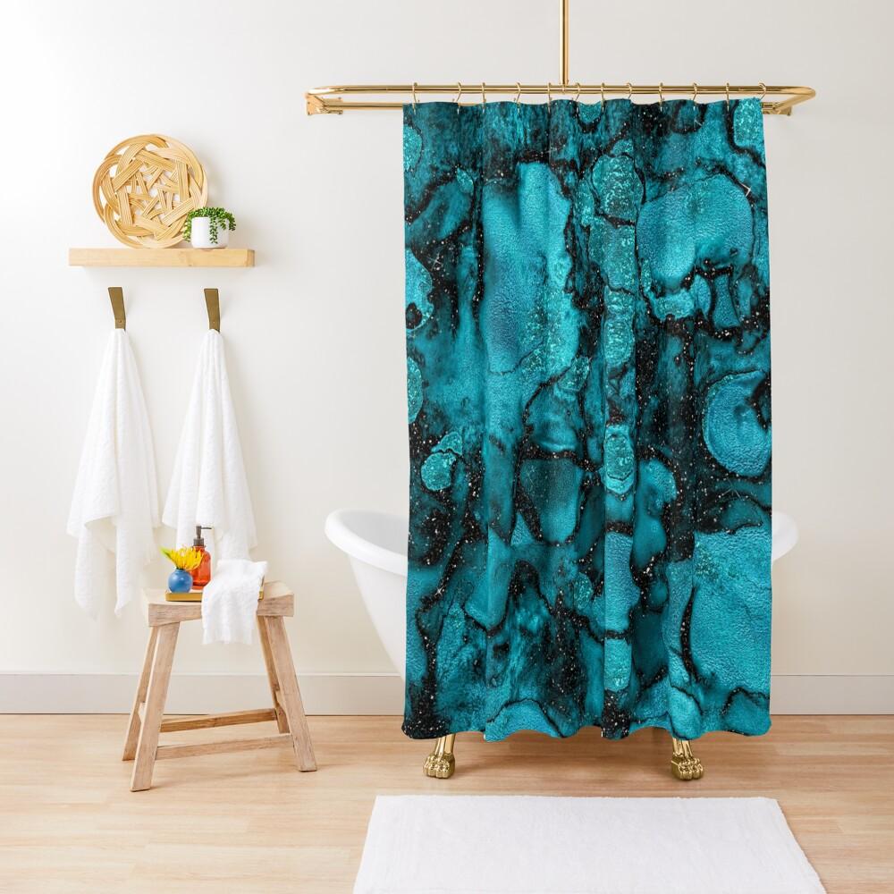 Indigo Malachite Marble and Black Glitter Shower Curtain