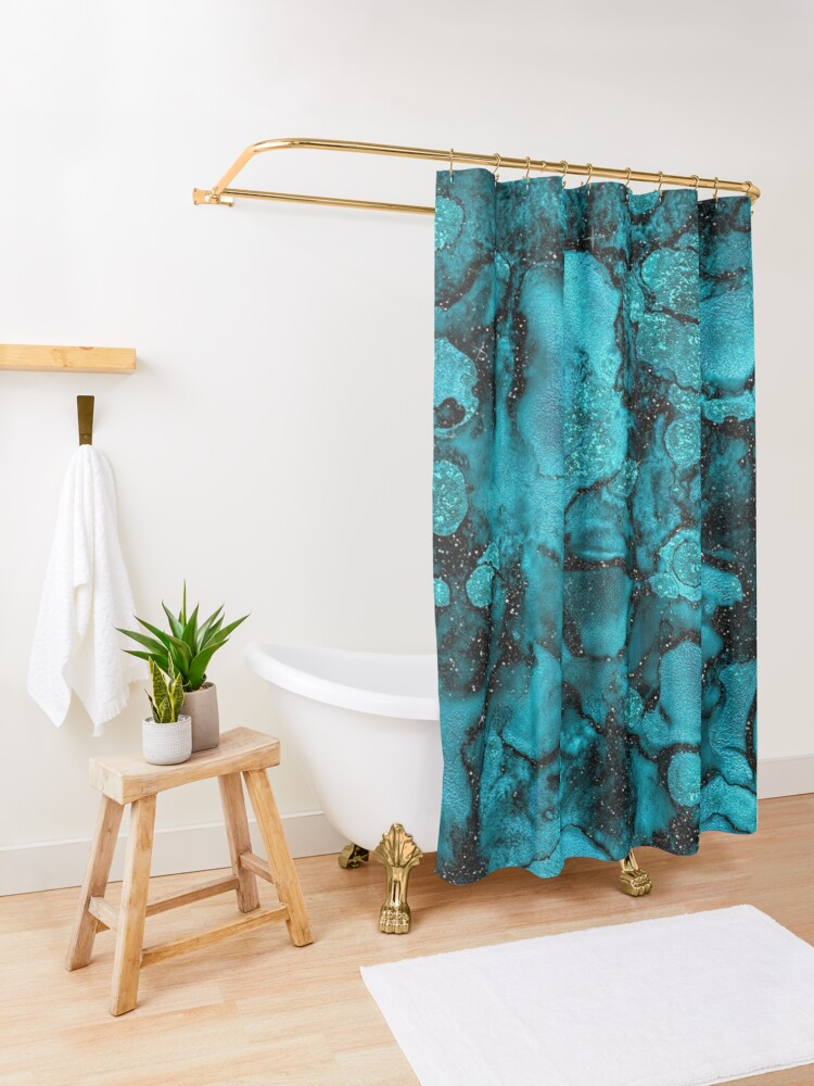 Alternate view of Indigo Malachite Marble and Black Glitter Shower Curtain
