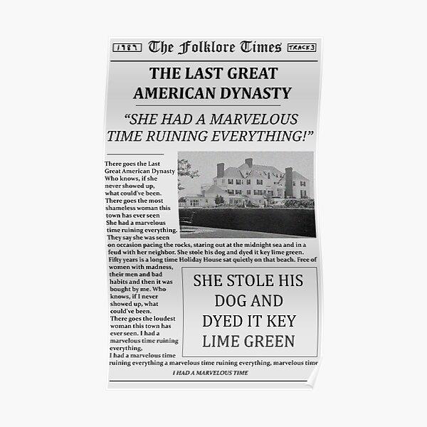 El último periódico de la gran dinastía estadounidense Póster