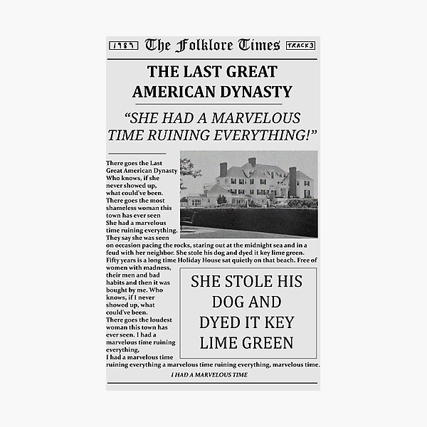 The Last Great American Dynasty Newspaper Photographic Print