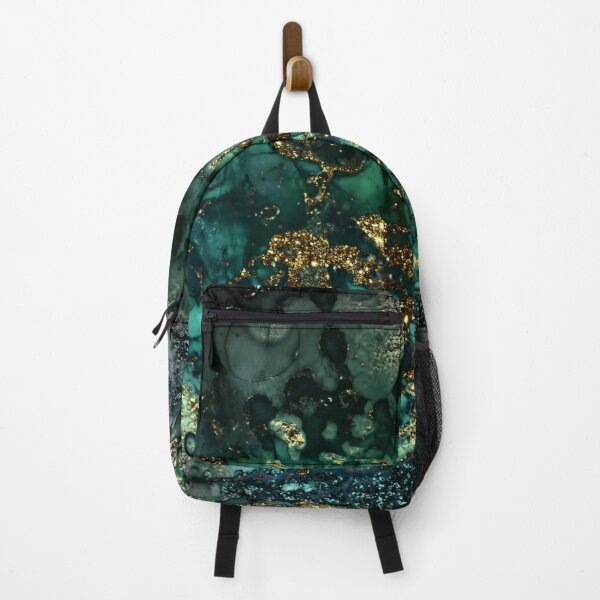 Gold Indigo Malachite Marble Backpack