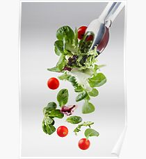 Fresh salad falling from a clamp Poster