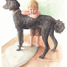 Boy & dog gazing watercolor by Mike Theuer