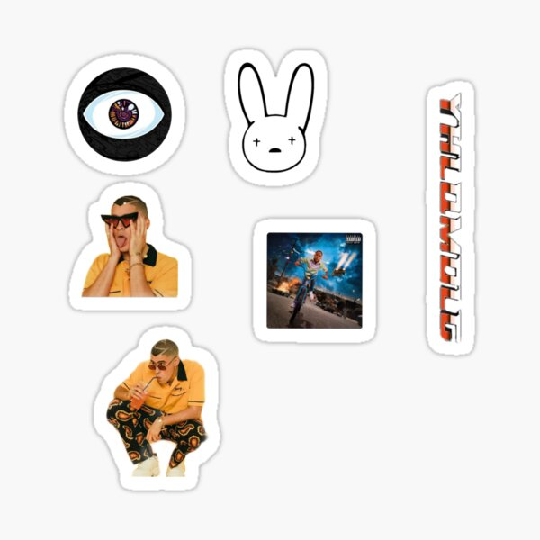 Bad bunny stickers pack Pegatina brillante