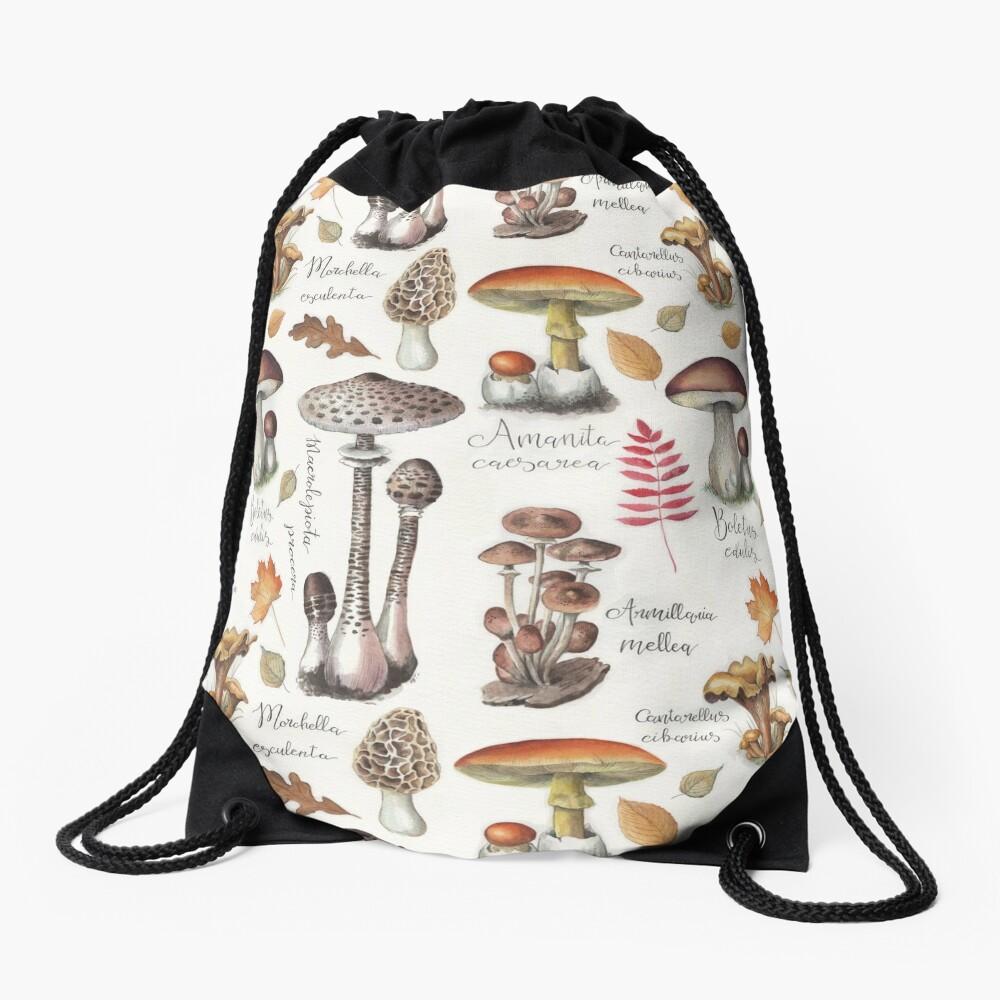Botanical Mushrooms Drawstring Bag
