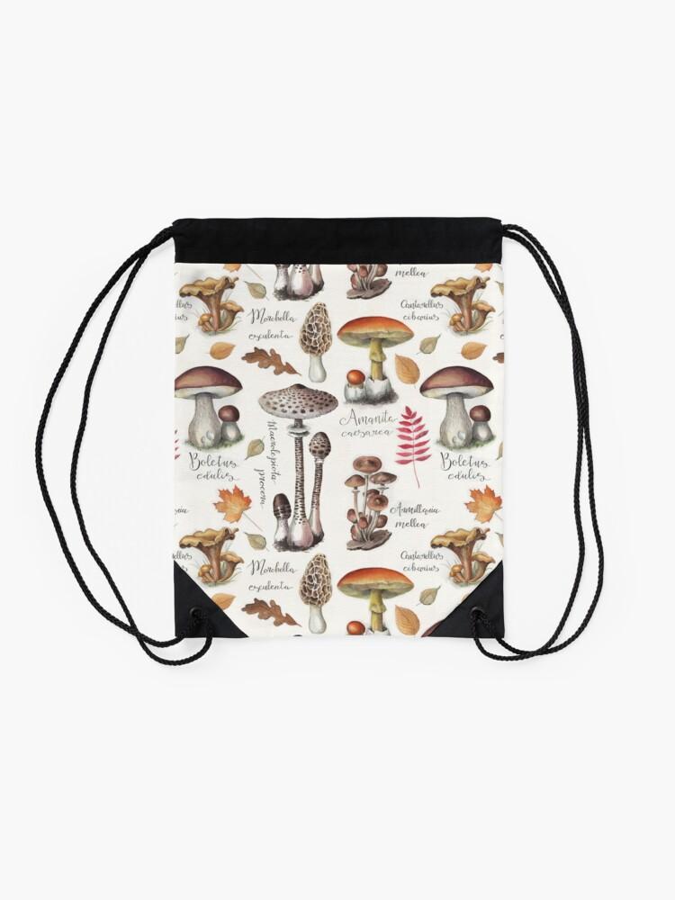 Alternate view of Botanical Mushrooms Drawstring Bag