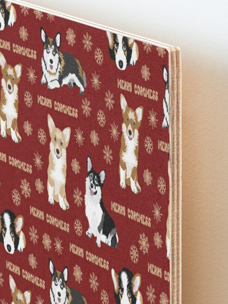 Alternate view of Merry Corgmess - red Mounted Print
