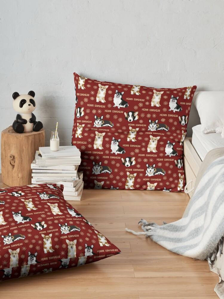 Alternate view of Merry Corgmess - red Floor Pillow