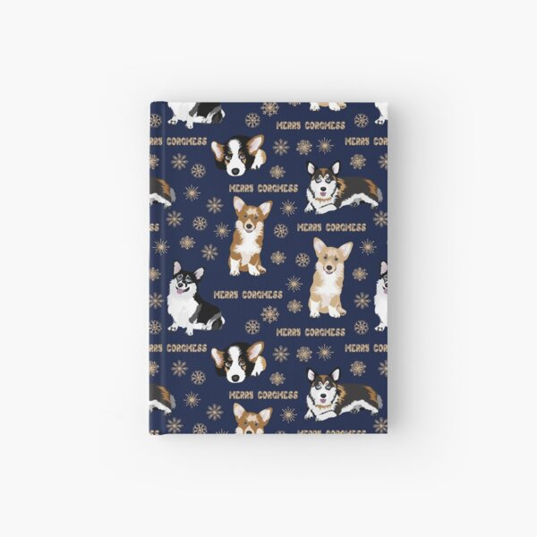 Merry Corgmess - blue Hardcover Journal