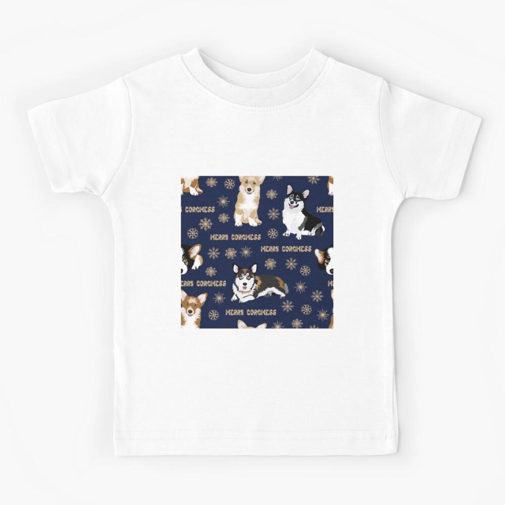 Merry Corgmess - blue Kids T-Shirt