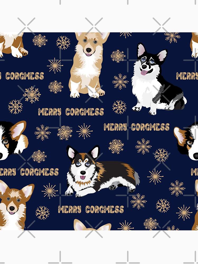 Merry Corgmess - blue by Corgiworld