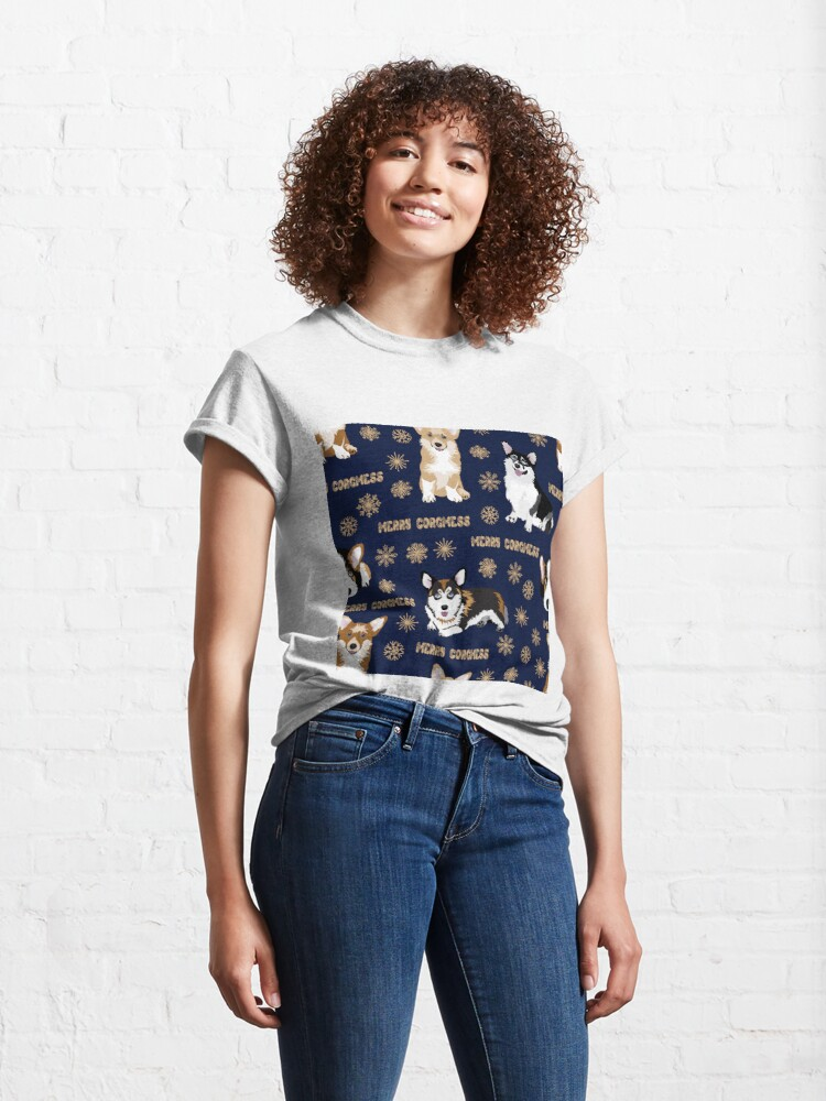 Alternate view of Merry Corgmess - blue Classic T-Shirt