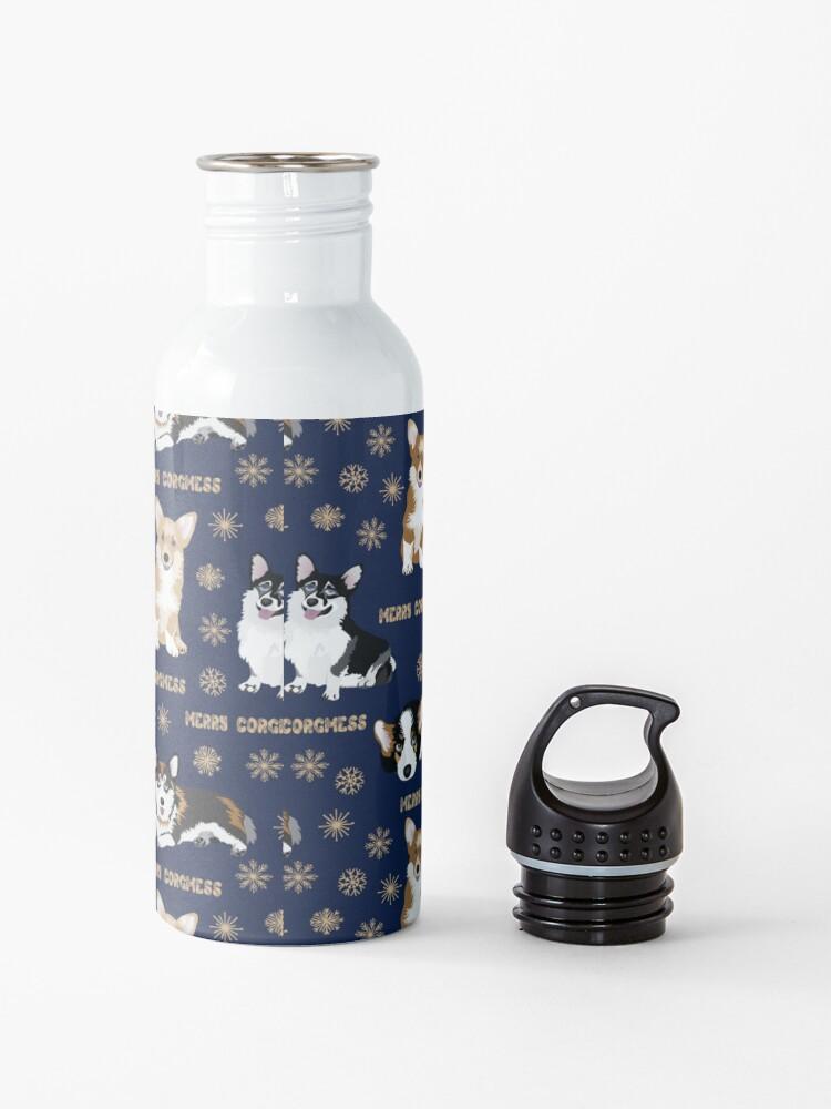 Alternate view of Merry Corgmess - blue Water Bottle