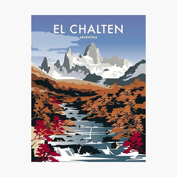 vintage, drawing, decorative, argentina, el chalten, santa cruz, patagonia argentina, southern argentina. Photographic Print