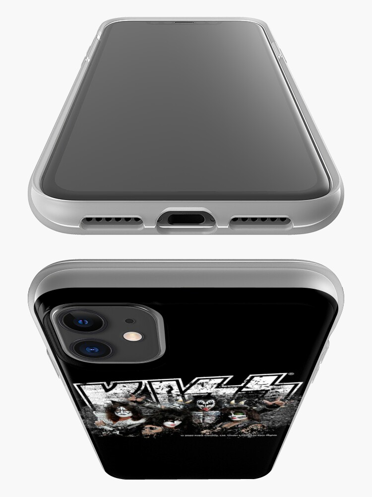Alternate view of KISS rock music band - Black White Effect Logo and All Membersk music band  iPhone Case & Cover