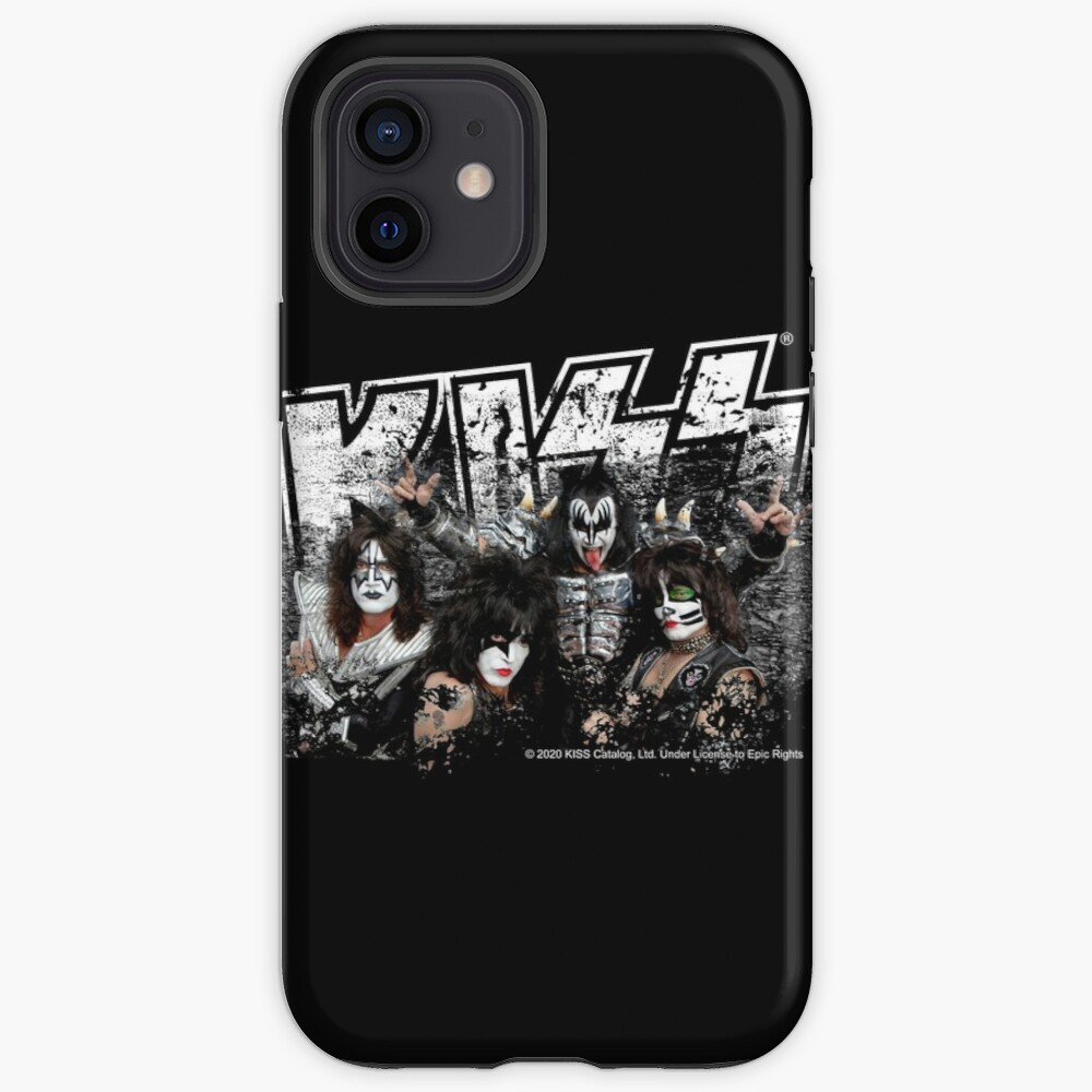 KISS rock music band - Black White Effect Logo and All Membersk music band  iPhone Case & Cover