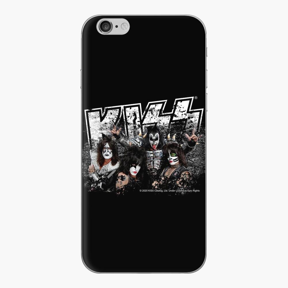 KISS rock music band - Black White Effect Logo and All Membersk music band  iPhone Skin