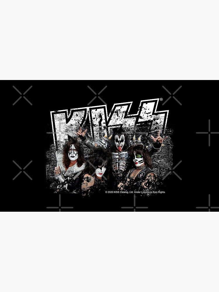 KISS rock music band - Black White Effect Logo and All Membersk music band  by musmus76
