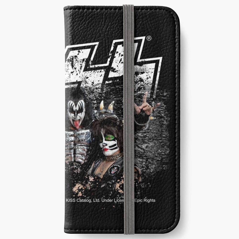 KISS rock music band - Black White Effect Logo and All Membersk music band  iPhone Wallet