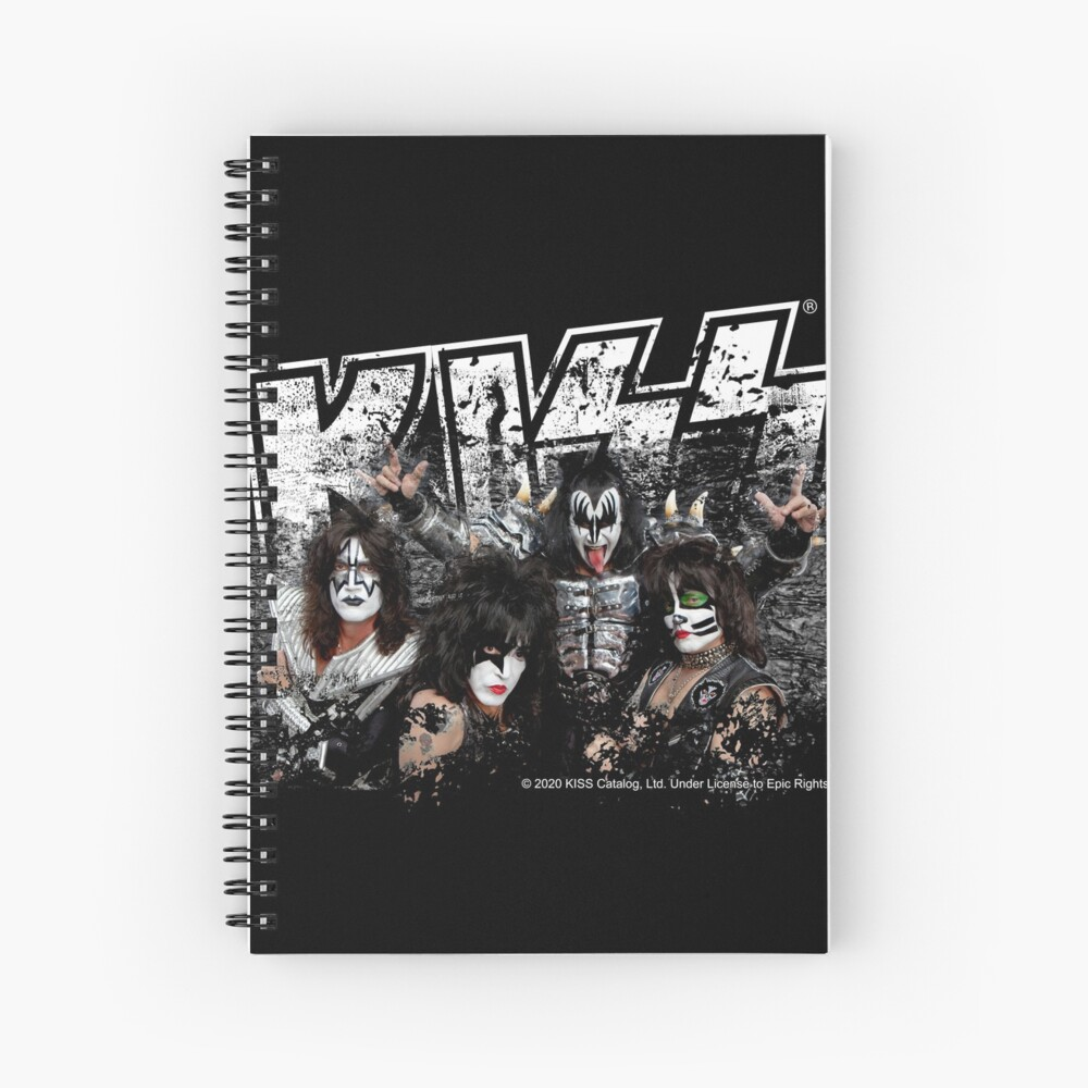 KISS rock music band - Black White Effect Logo and All Membersk music band  Spiral Notebook