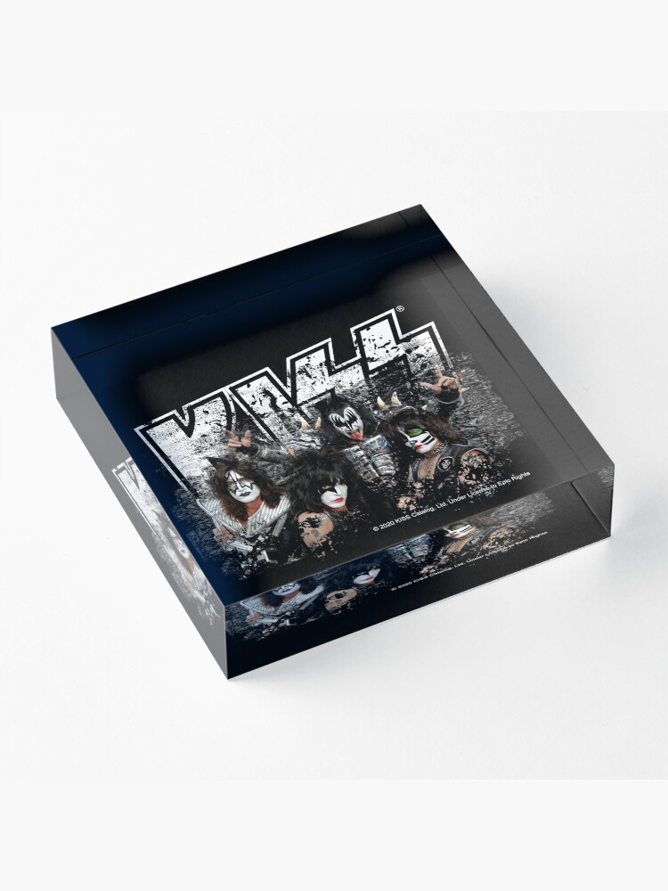 Alternate view of KISS rock music band - Black White Effect Logo and All Membersk music band  Acrylic Block