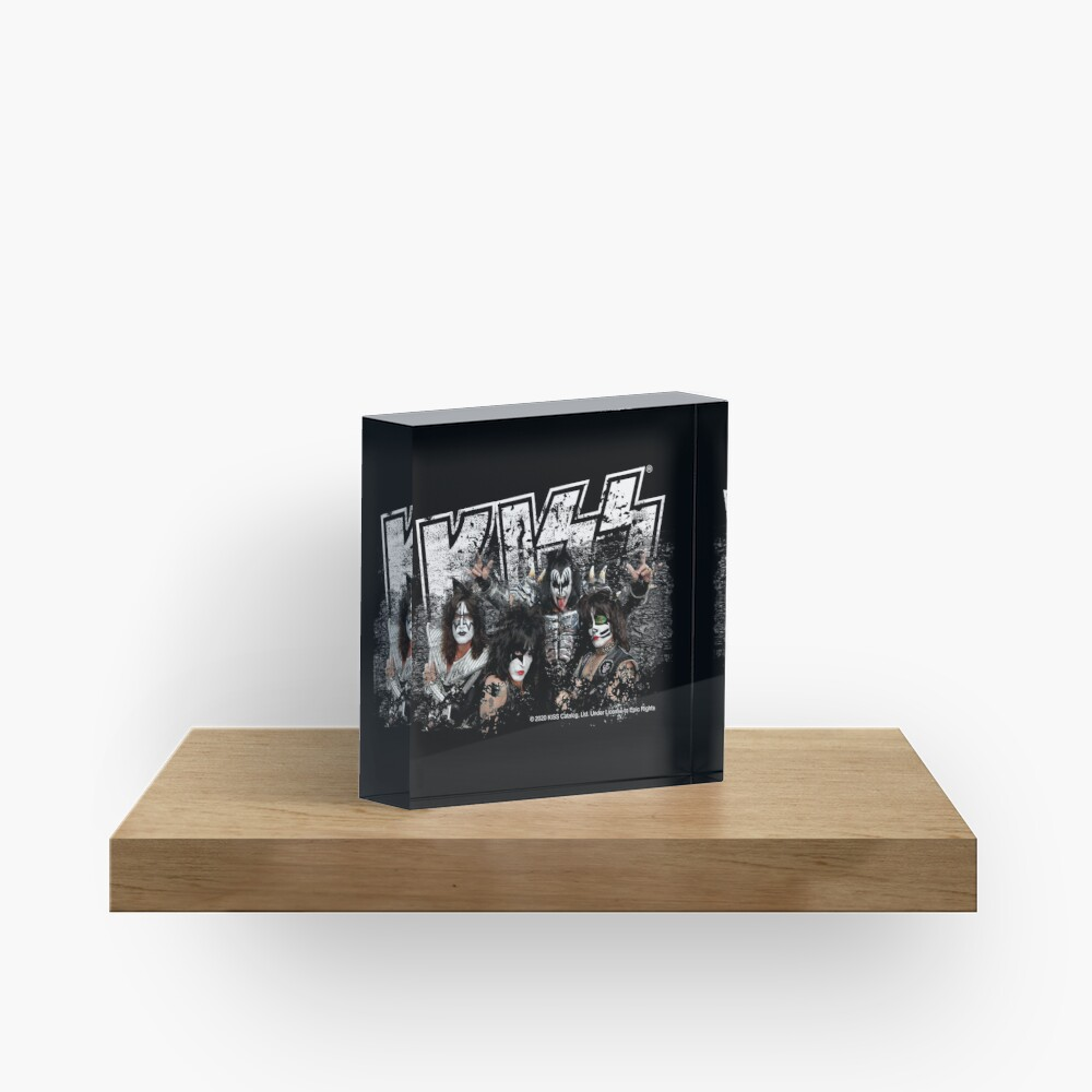 KISS rock music band - Black White Effect Logo and All Membersk music band  Acrylic Block