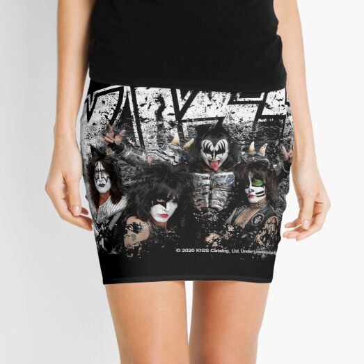 KISS rock music band - Black White Effect Logo and All Membersk music band  Mini Skirt