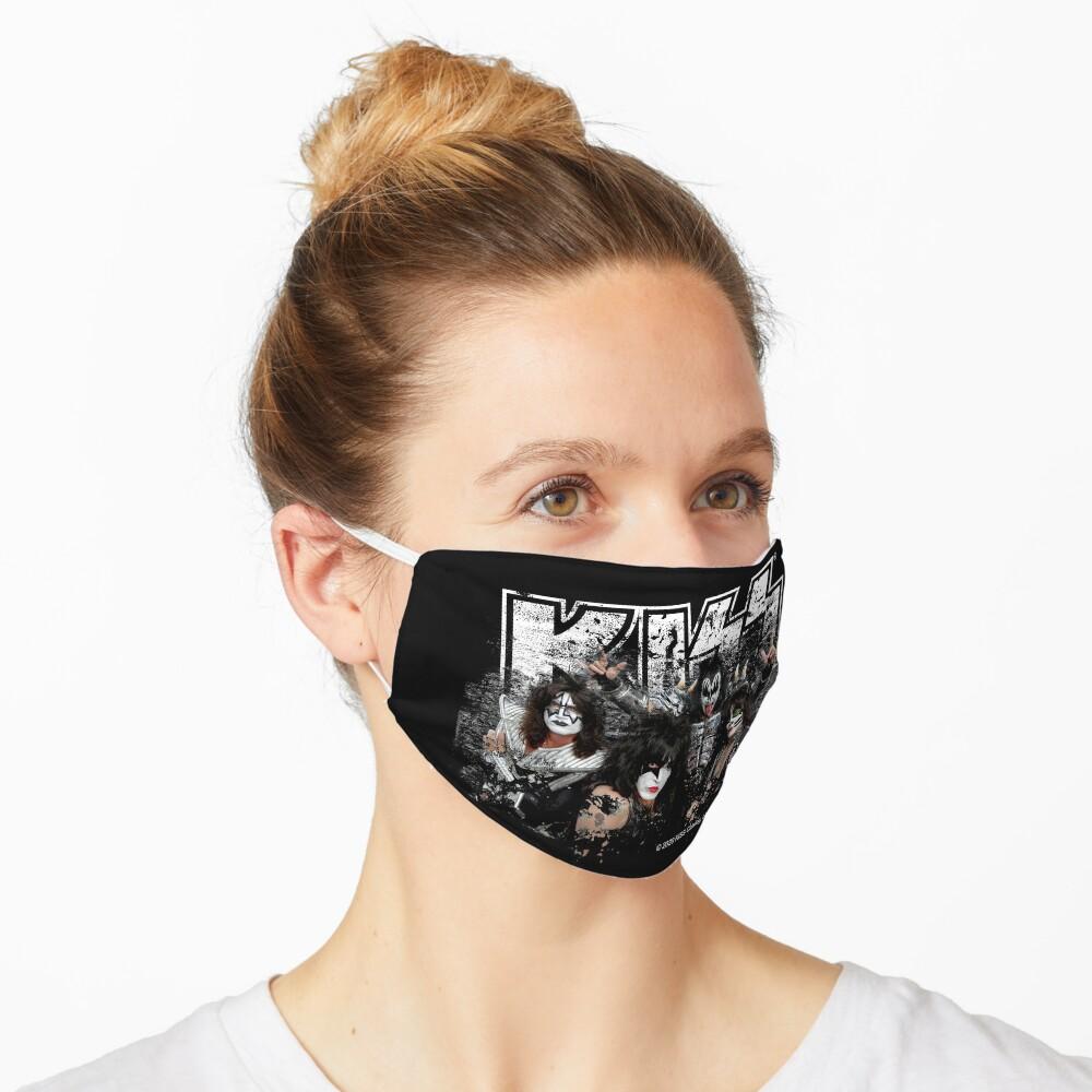KISS rock music band - Black White Effect Logo and All Membersk music band  Mask