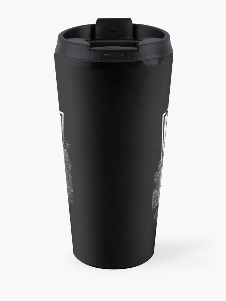 Alternate view of KISS rock music band - Black White Effect Logo and All Membersk music band  Travel Mug