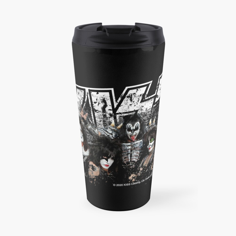 KISS rock music band - Black White Effect Logo and All Membersk music band  Travel Mug