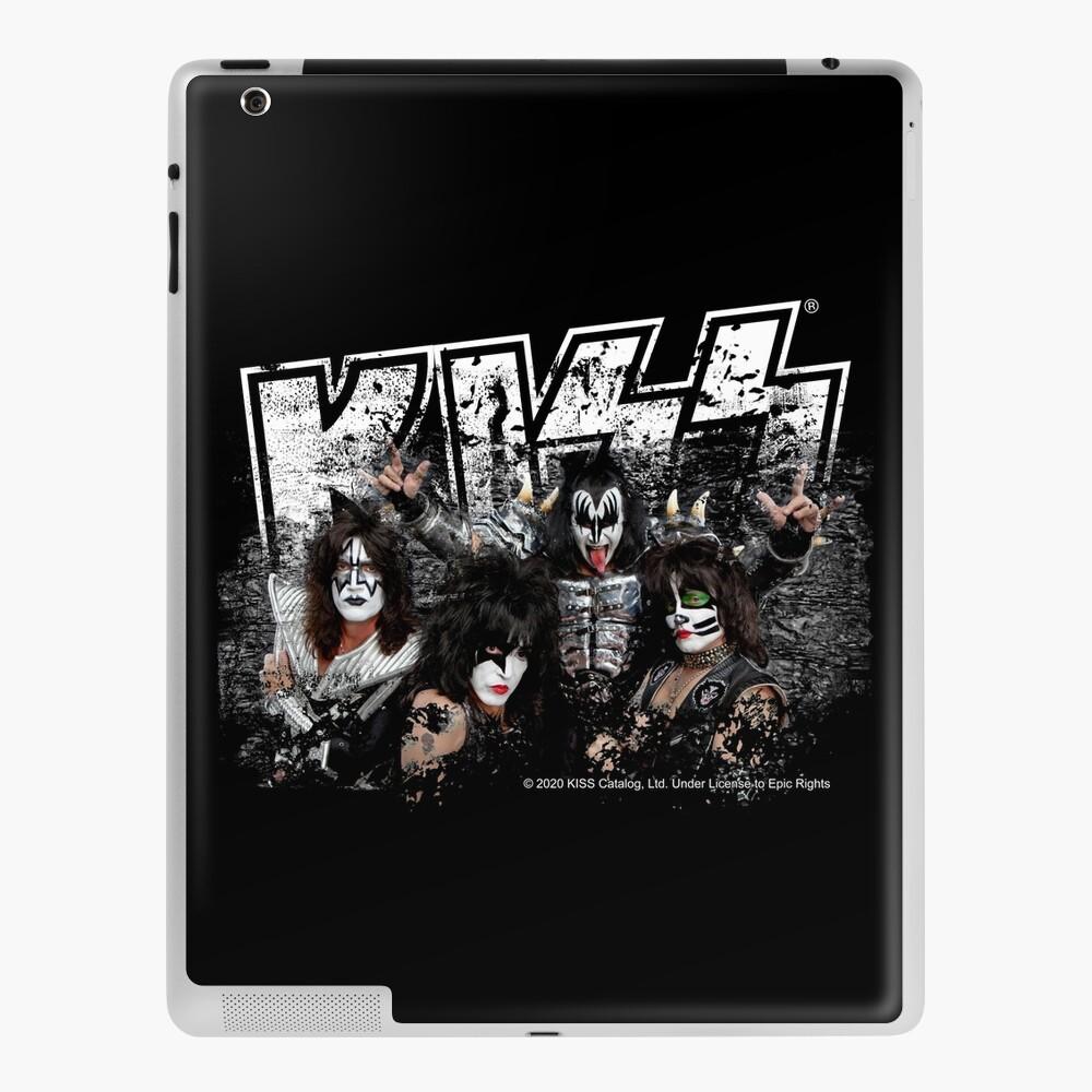 KISS rock music band - Black White Effect Logo and All Membersk music band  iPad Case & Skin
