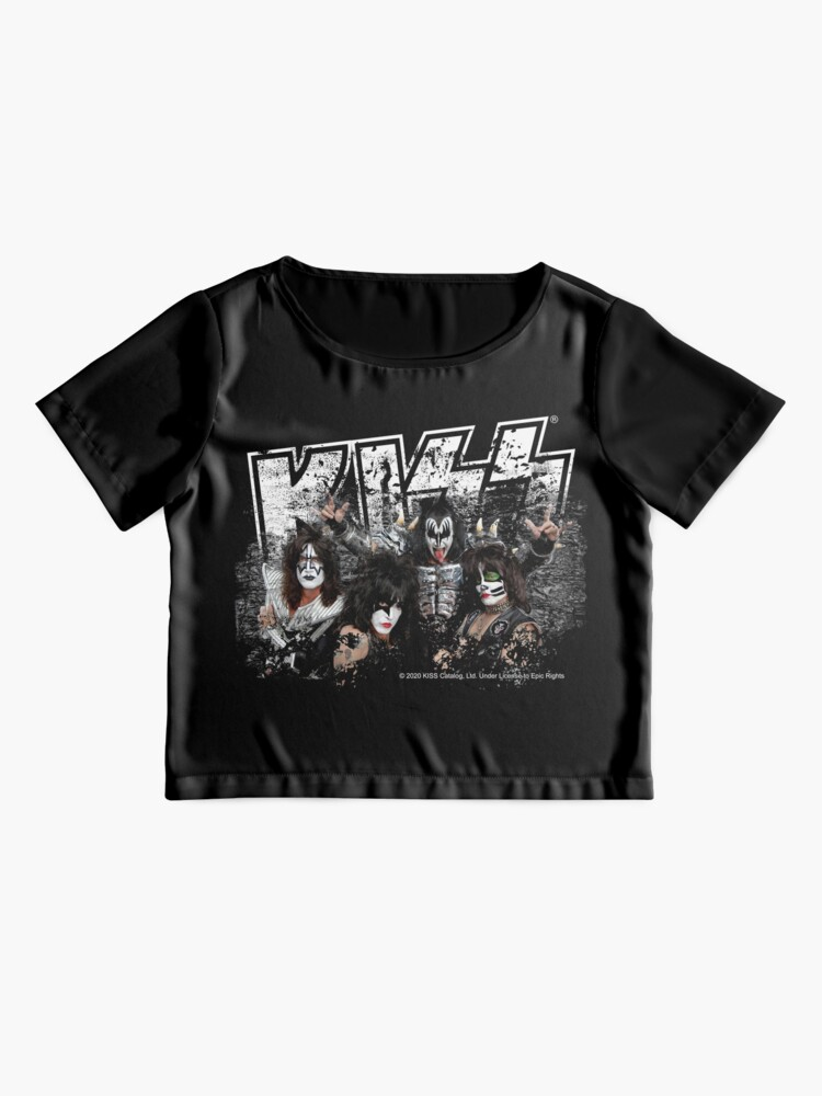 Alternate view of KISS rock music band - Black White Effect Logo and All Membersk music band  Chiffon Top