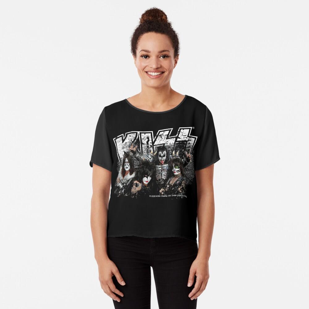 KISS rock music band - Black White Effect Logo and All Membersk music band  Chiffon Top