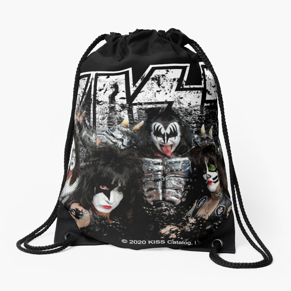 KISS rock music band - Black White Effect Logo and All Membersk music band  Drawstring Bag