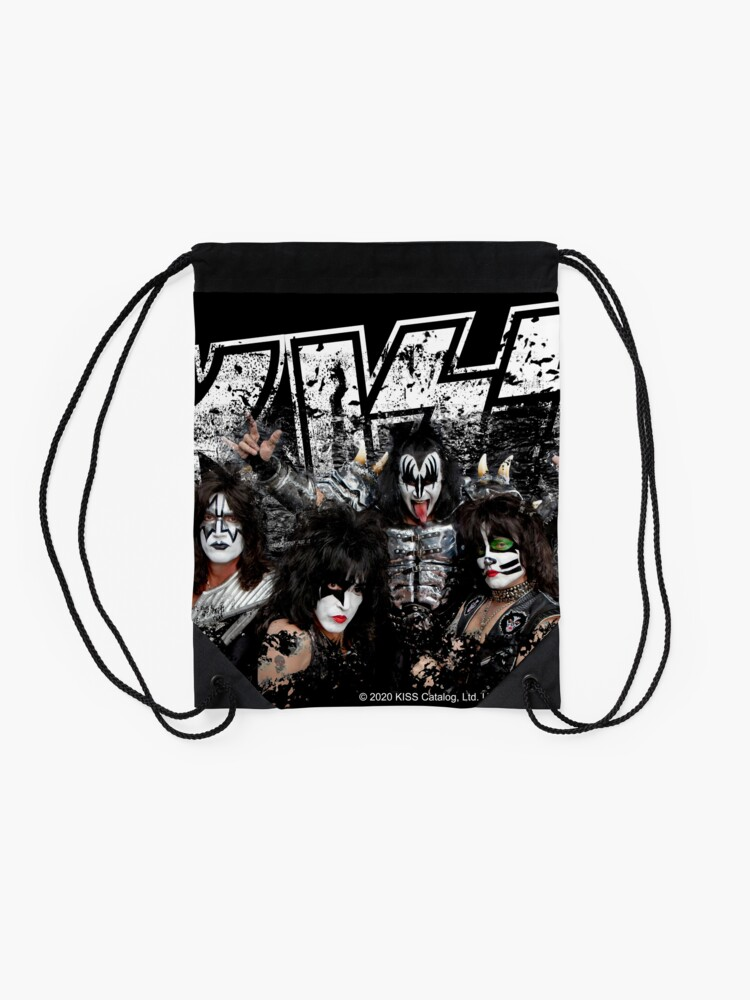 Alternate view of KISS rock music band - Black White Effect Logo and All Membersk music band  Drawstring Bag