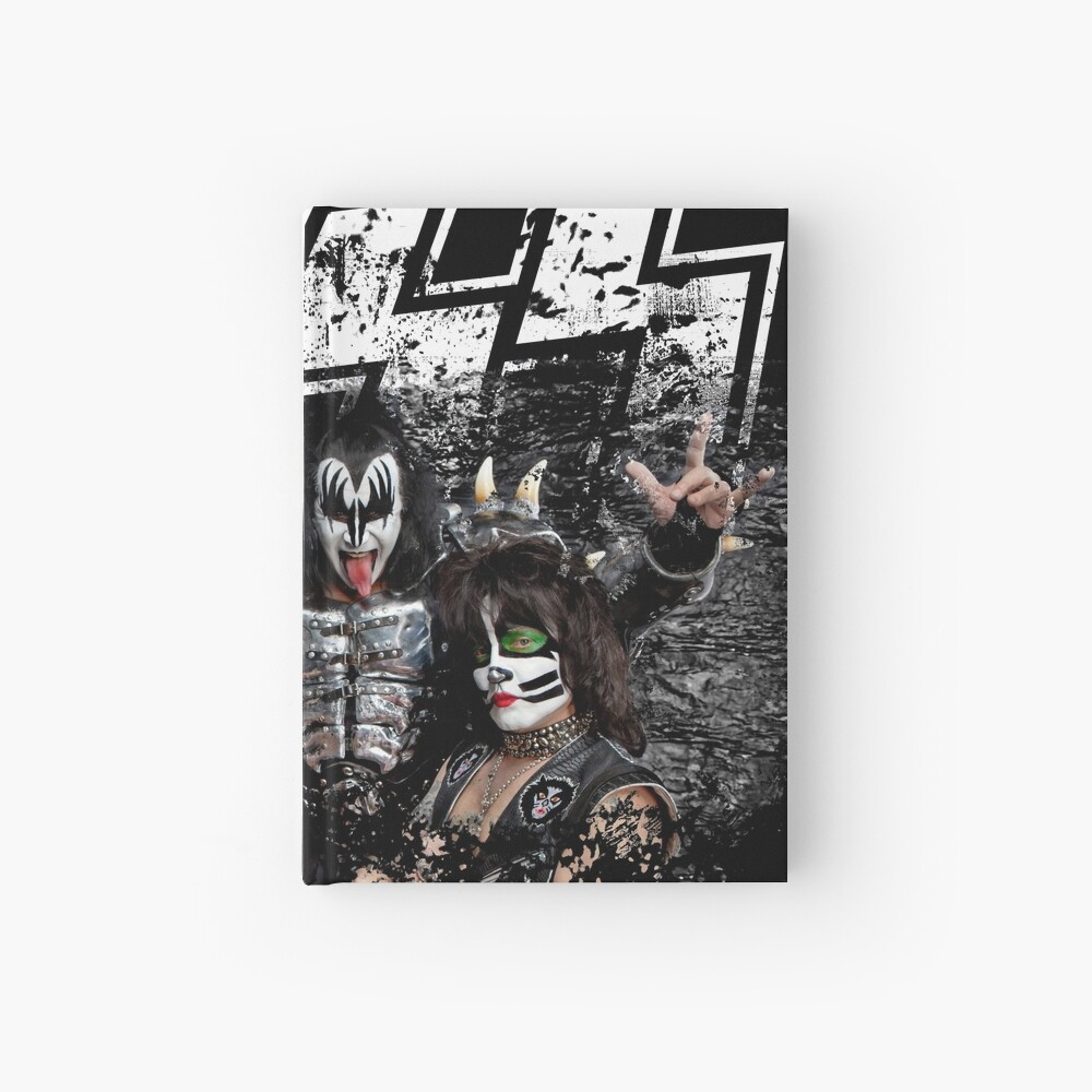 KISS rock music band - Black White Effect Logo and All Membersk music band  Hardcover Journal