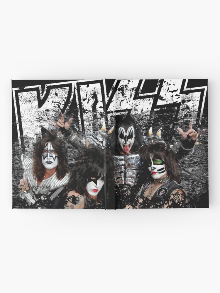 Alternate view of KISS rock music band - Black White Effect Logo and All Membersk music band  Hardcover Journal