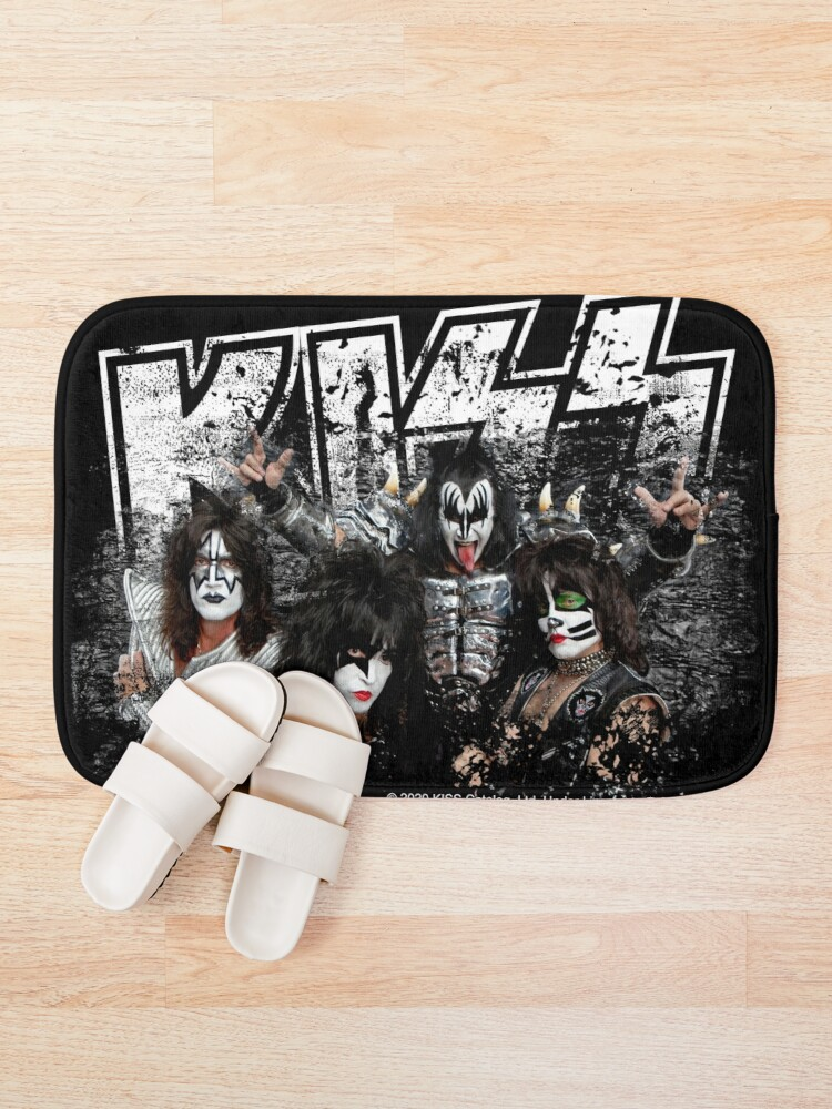 Alternate view of KISS rock music band - Black White Effect Logo and All Membersk music band  Bath Mat
