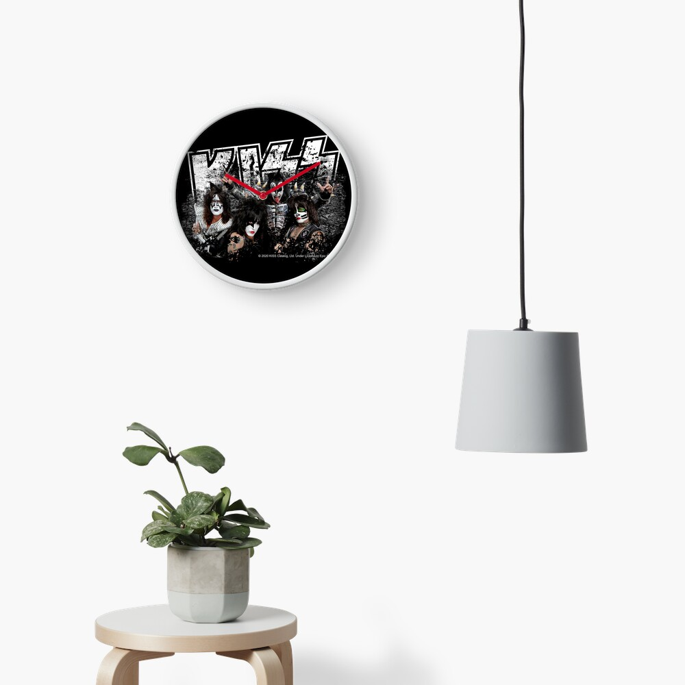 KISS rock music band - Black White Effect Logo and All Membersk music band  Clock