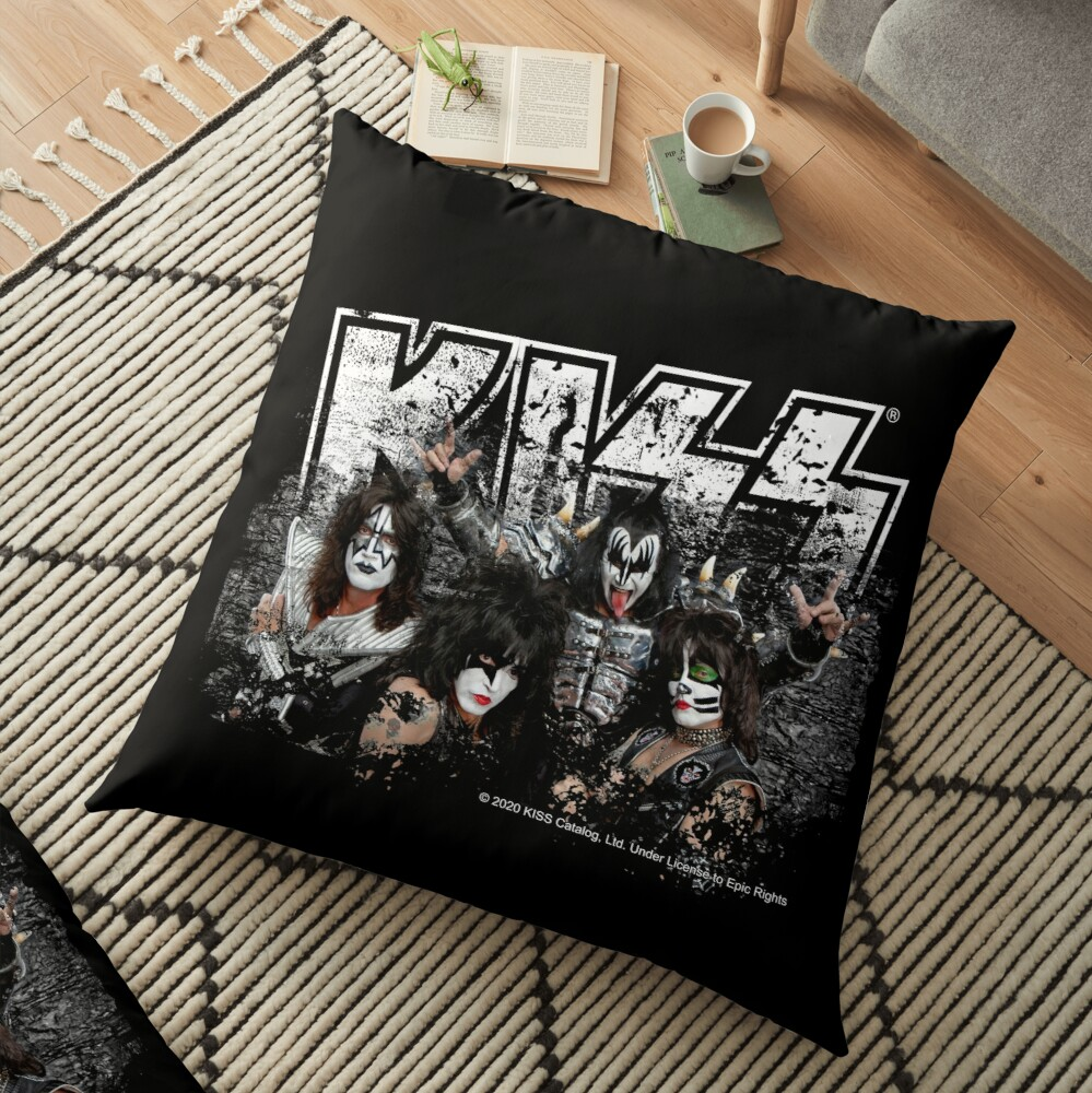 KISS rock music band - Black White Effect Logo and All Membersk music band  Floor Pillow