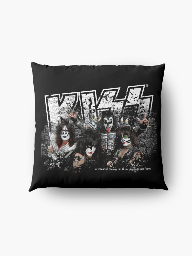 Alternate view of KISS rock music band - Black White Effect Logo and All Membersk music band  Floor Pillow