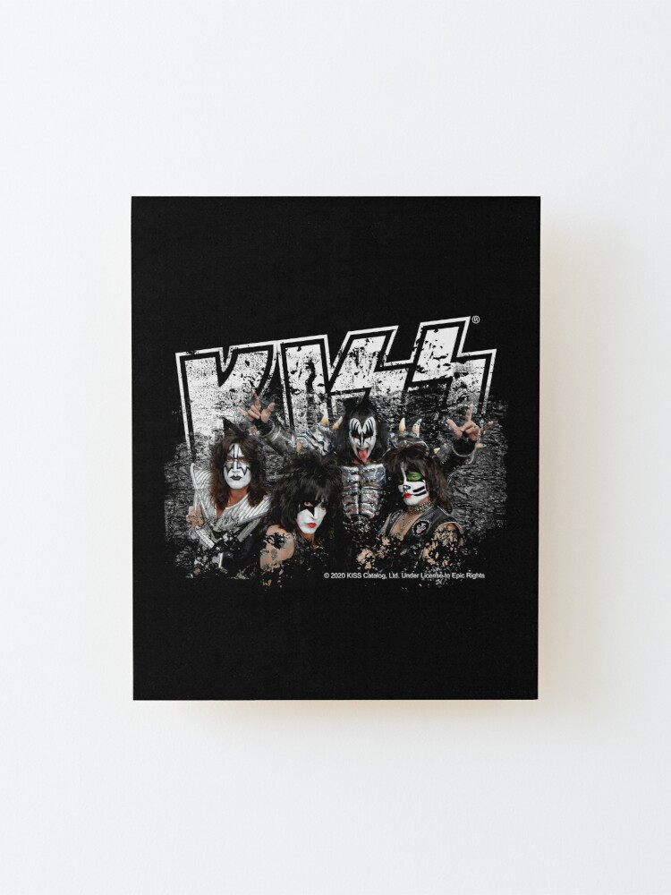 Alternate view of KISS rock music band - Black White Effect Logo and All Membersk music band  Mounted Print