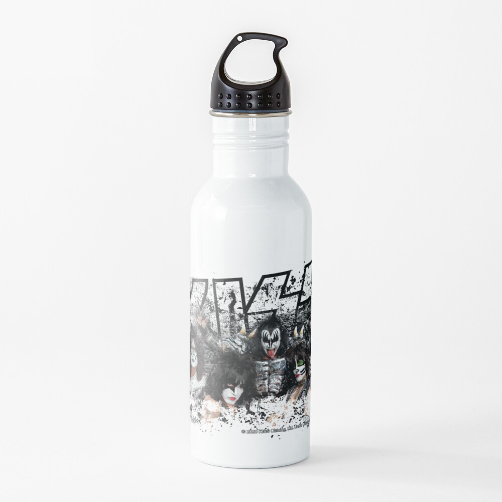 KISS rock music band - Black White Effect Logo and All Membersk music band  Water Bottle