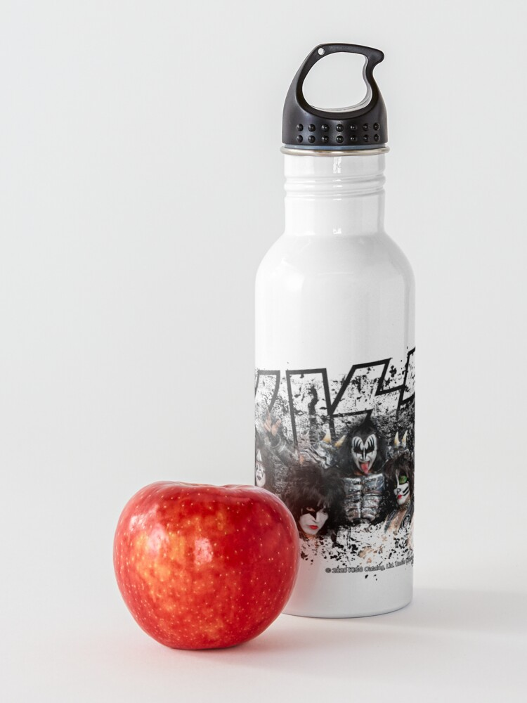 Alternate view of KISS rock music band - Black White Effect Logo and All Membersk music band  Water Bottle