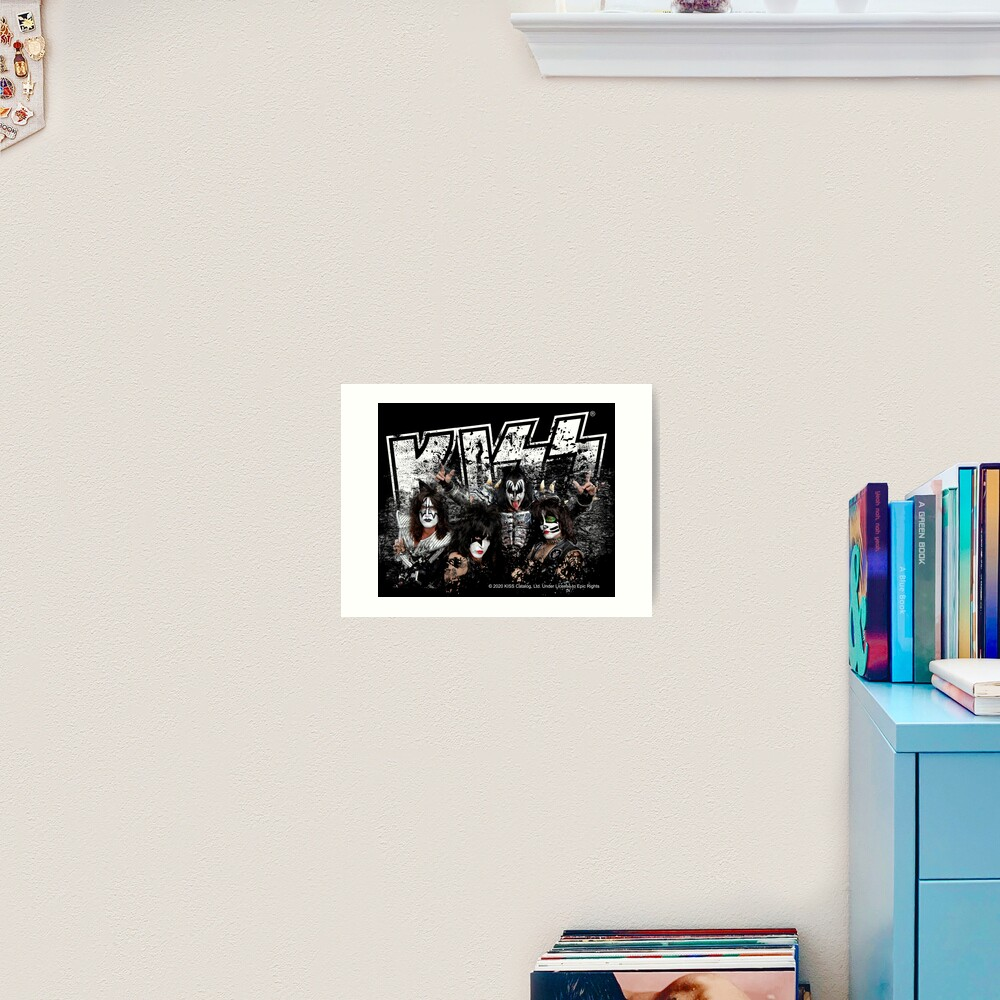KISS rock music band - Black White Effect Logo and All Membersk music band  Art Print