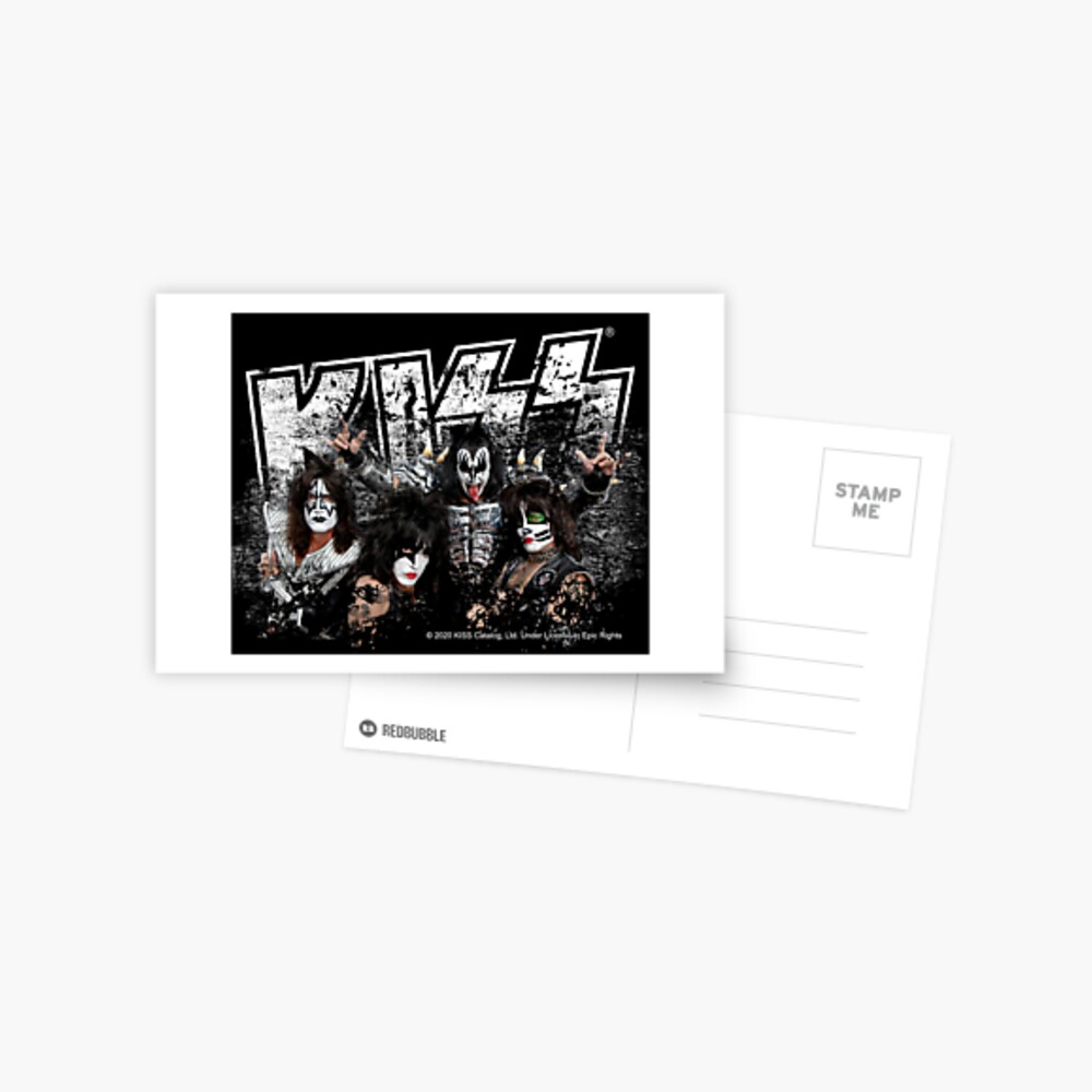 KISS rock music band - Black White Effect Logo and All Membersk music band  Postcard