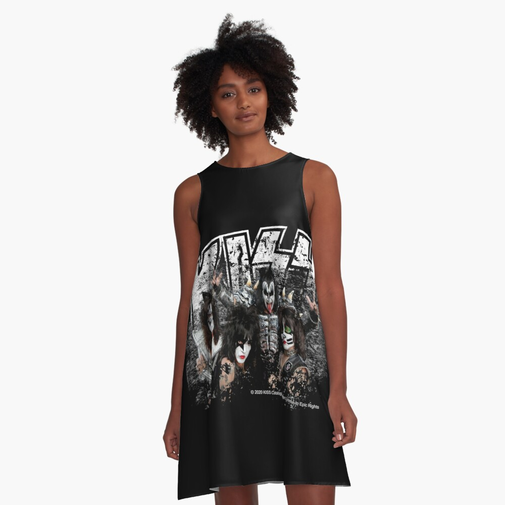KISS rock music band - Black White Effect Logo and All Membersk music band  A-Line Dress